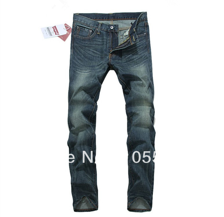 2013 autumn and winter fashion men's jeans; Slim dark blue jeans; do the old; straight; European and American minimalist style(China (Mainland))