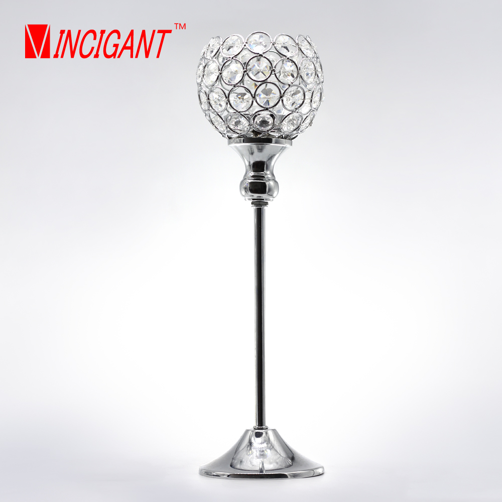 VINCIGANT sliver crystal candle holder home decorative candelabra centerpieces wedding tealight holder candle stand 35cm tall(China (Mainland))