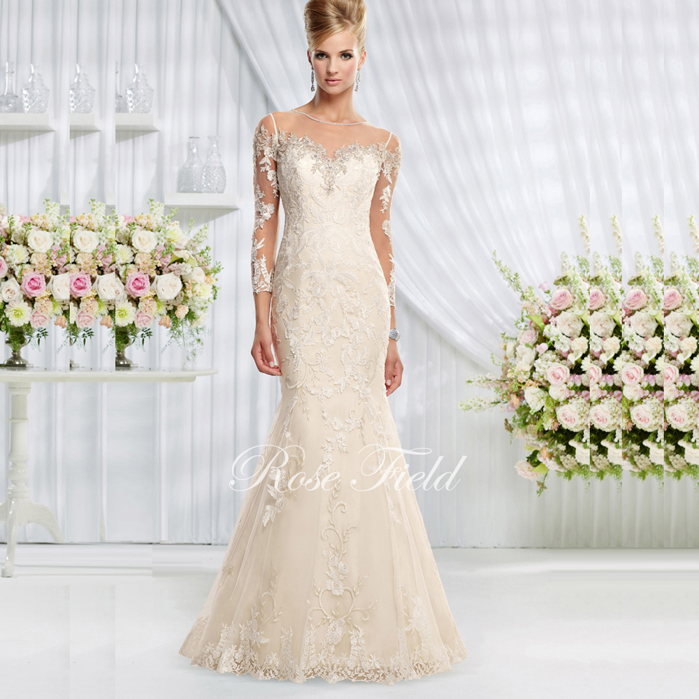 Beautiful Mermaid Wedding Dresses With Sleeves : Sl beautiful mermaid sweetheart appliqued lace long