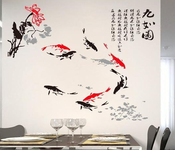 Wall Sticer Home Decor Decoration Chinese Style Painting Fish Lotus Water Lily Decals Livingroom Decoration(China (Mainland))