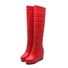 Nueva Sexy Sobre la Rodilla de tacón Alto cuñas de plataforma Botas 2016 de Invierno de Tacón Alto Botas de nieve caliente Zapatos de Mujer(China (Mainland))