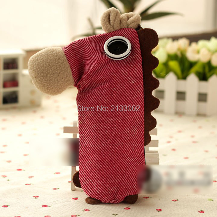 4 Color Creative Cute Coconut Colt Pony Horse Pencil Case Large Capacity Stationery Canvas Pencil Bag With Roap(China (Mainland))