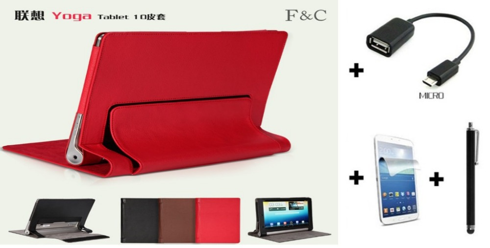4in1 protective Leather Case +OTG+ Screen Protector+touch pen Lenovo YOGA B8000 10'' Tablet PC - BH Accessories Technology Co.,Ltd store