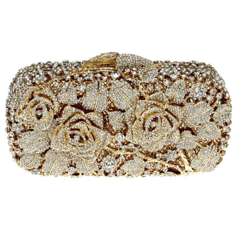 DC1989 Quality Rhinestones Evening Bag Golden Color Plated Clear White Crystals Wedding Bridal Metal Clutches 50 cm Metal Chain<br><br>Aliexpress