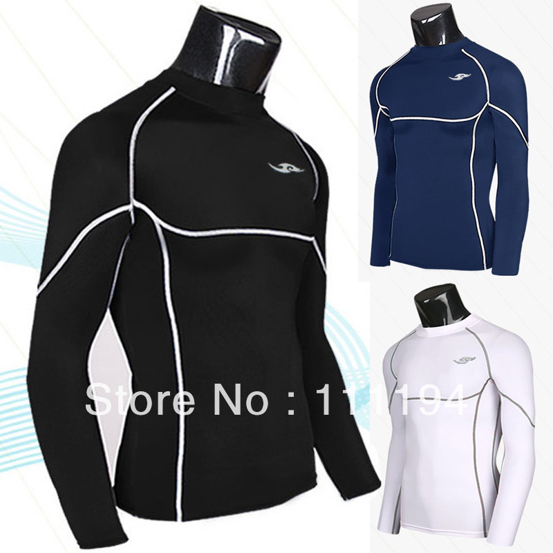 Men's 2014 Long Sleeve Gym Running Sport T-shirt tshirt shirt t Tee Tops Tights Black Blue White 5108 - Ivy Chou's store
