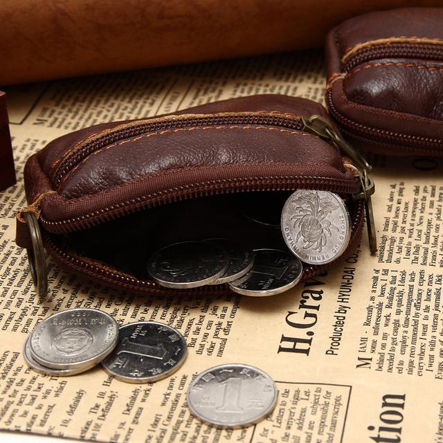 Мини-размер реальная кожа монет сумка на молнии классический стиль кожаный монет ...