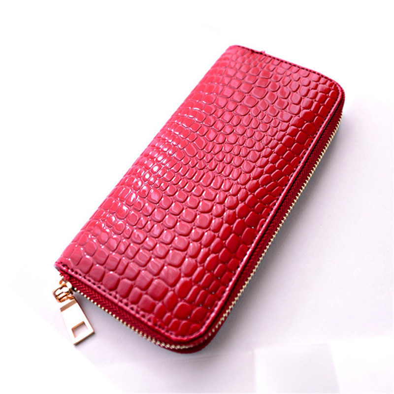 2016 Hot Selling Lady Standard Wallets Fashion Women Patent Leather Day Clutches Stone Pattern Long Purse Large Capacity<br><br>Aliexpress