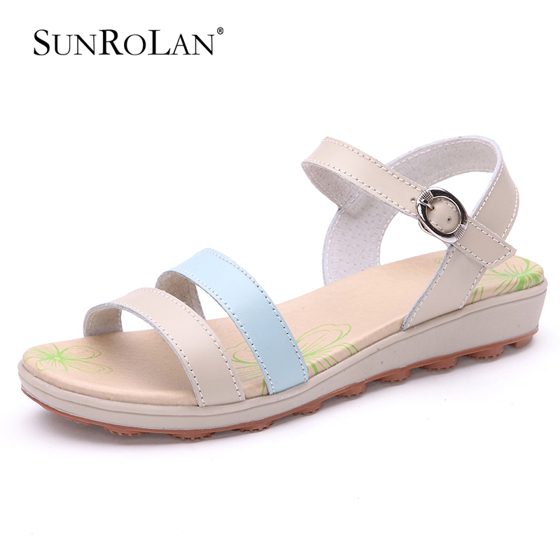 2015 women sandals genuine leather shoes woman mixed colors fashion buckle summer flat heel sandalias BFS1109 - SHOES COUNTRY store