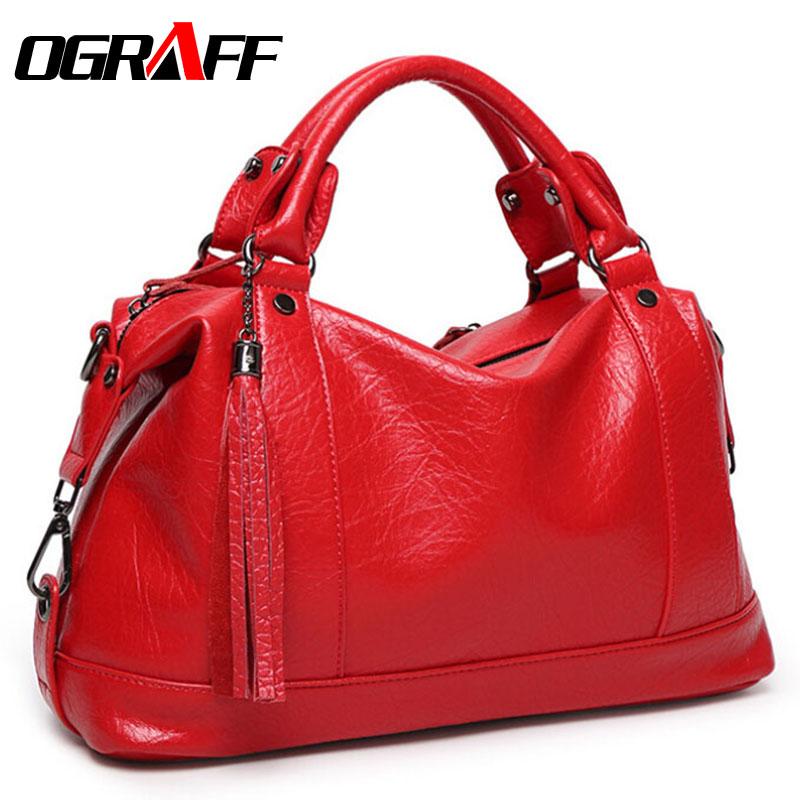 OGRAFF Boston women bag tassel women leather bag Litchi women messenger bag handbags famous brand high quality dollar price(China (Mainland))