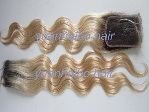 In Stock! 6a quality blond ombre two tone #2T#613 virgin brazilian body wave lace top closure 4X4 free shipping<br><br>Aliexpress