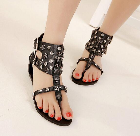 SUMMER STYLE sandals shoes women 2015 flip-flop car-styling flats casual sandals shoes women PUNK platform sandals Rhinestone<br><br>Aliexpress