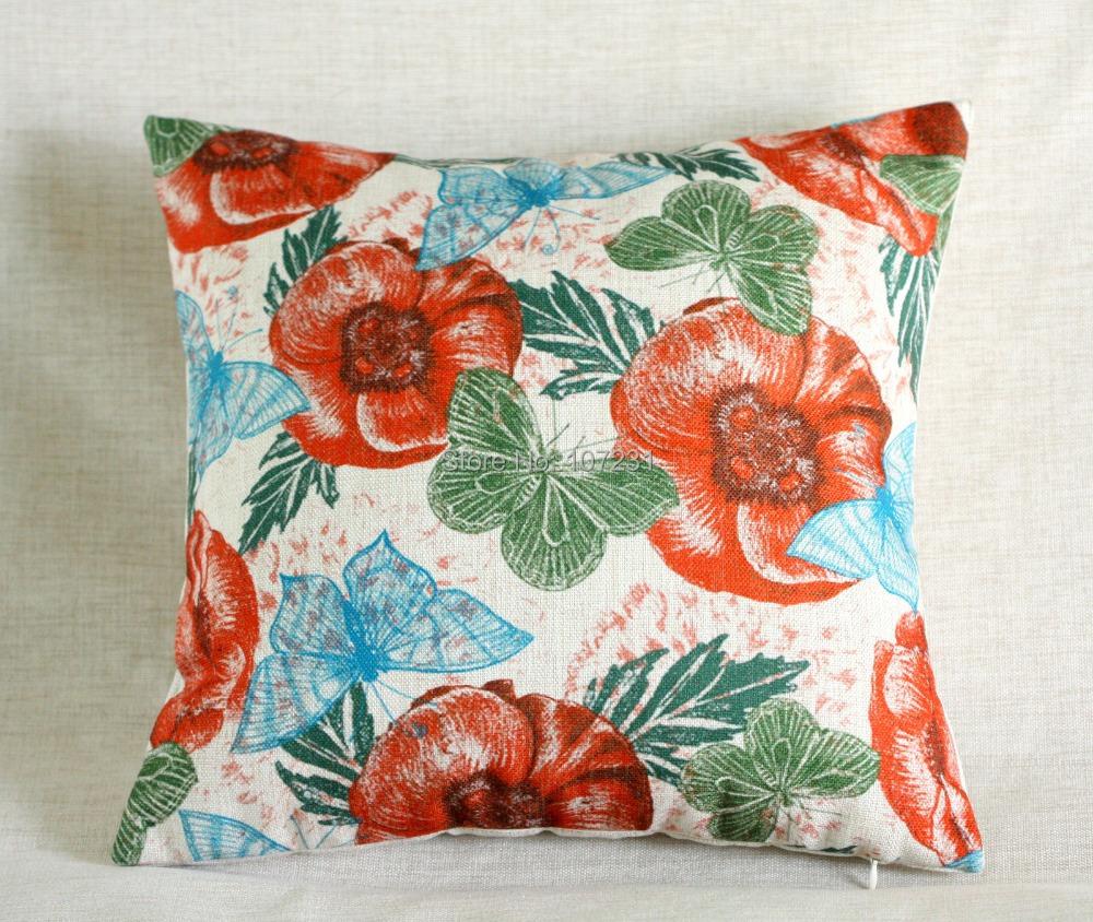 Vintage Decorative Pillow Covers : Vintage Linen Pillow Cushion Cover Throw decorative cushion covers 45cm*45cm Vintage Butterfly ...