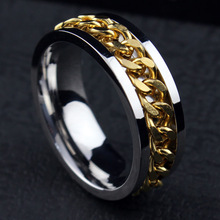 Wholesale men s ring the Punk rock accessories stainless steel black chain spinner rings for men