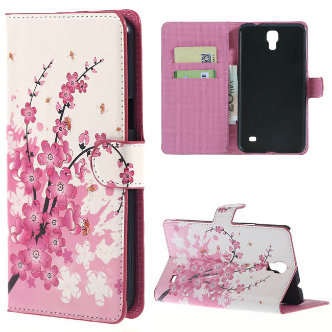 Pink Plum Leather Phone Covers For SM Mega 2 Case Flip Cover Bags For Samsung Galaxy Mega 2 G7508Q G750F Cases wallet Card Slots(China (Mainland))