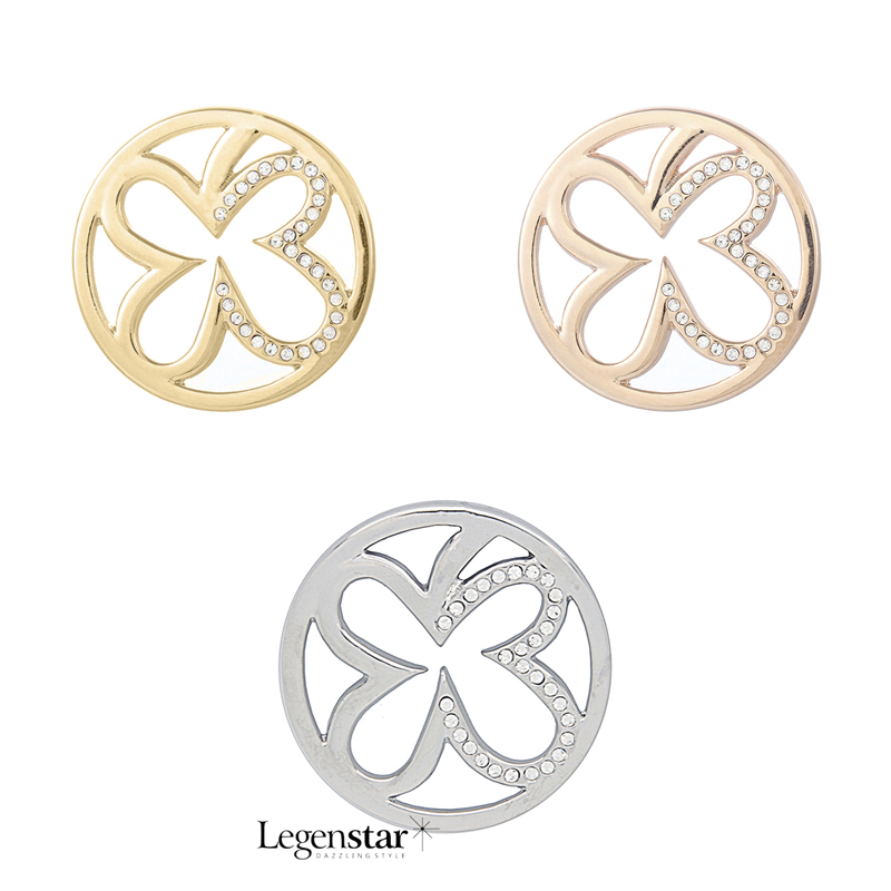 Gold/Rose Gold/Rhodium Plated Four Leaf Clover Pattern with White Crystal 33mm Copy Coin Alloy Coin Disc for Women Gift PJM072(China (Mainland))