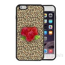 For iphone 4/4s 5/5s 5c SE 6/6s 7 plus ipod touch 4/5/6 back cellphone cases cover Leopard Print With Red Roses In Center