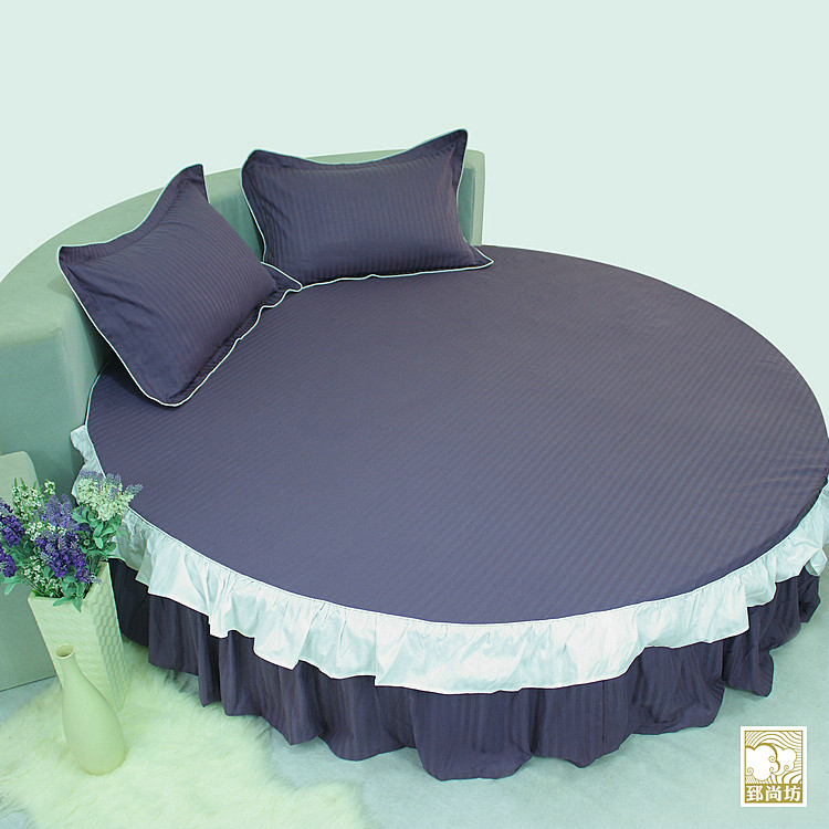 Customize Cotton Round Bed Skirt 4pcs Set Bedding Fitted Round Bedspread kit Customize Dulwich Pillowcases Comfortable Fabric(China (Mainland))