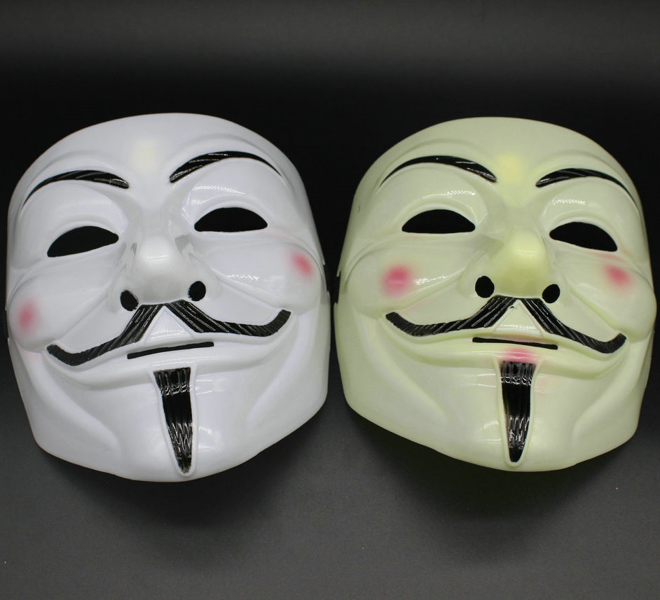 V Face Mask for Vendetta Mask Film Guy Fawkes Fancy Cosplay Anonymous Halloween Masks Fancy Dress Costume (White/Yellow)(China (Mainland))