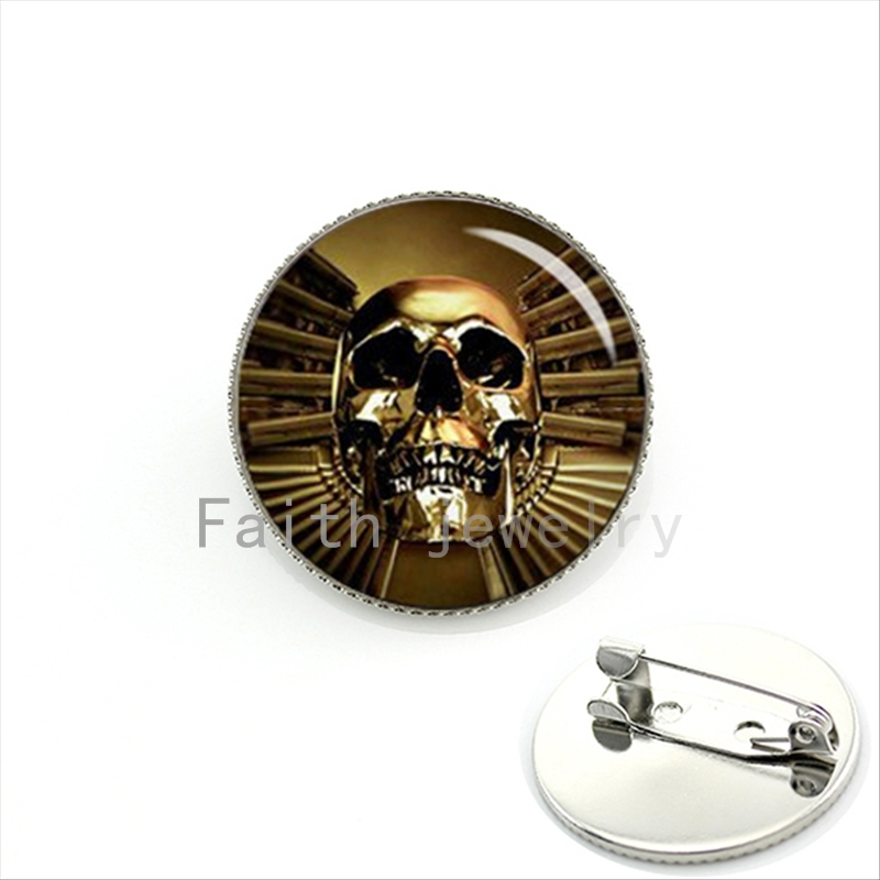 Gun & skull antique metal tone brooch pins jewelry Astraware Golden Skull Gothic style Human Day of the Dead gift KC416(China (Mainland))