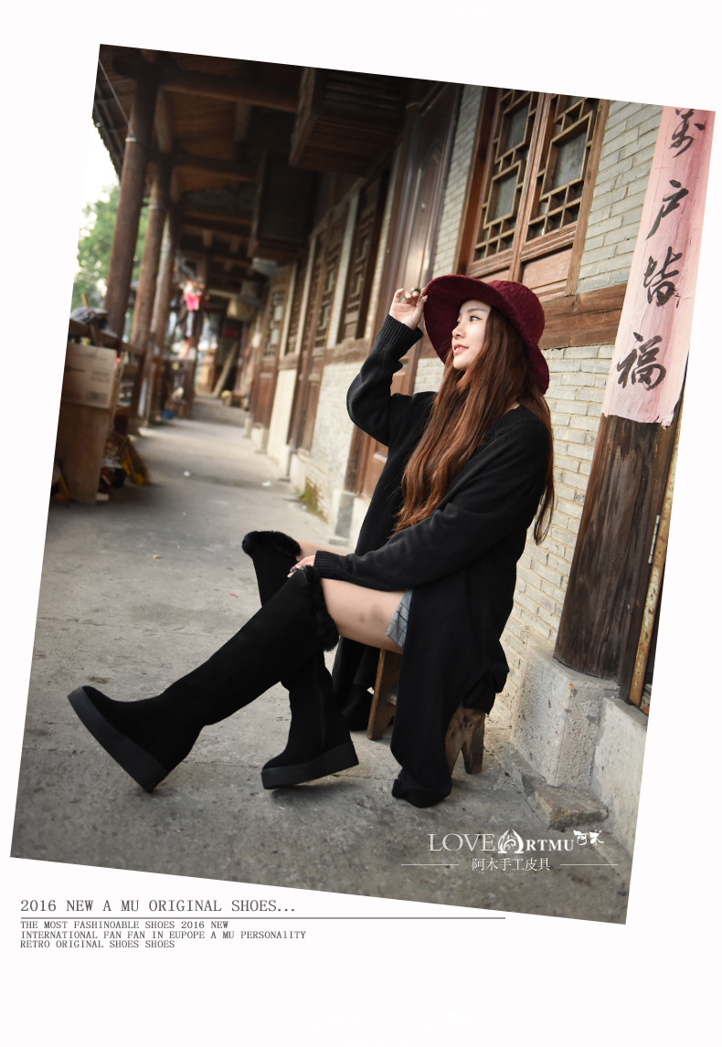 2016 New Winter Grind Arenaceous Cowhide Thigh Boots Thick Bottom Slope Increased Women Boots Over-the-Knee Boots Black 918-217