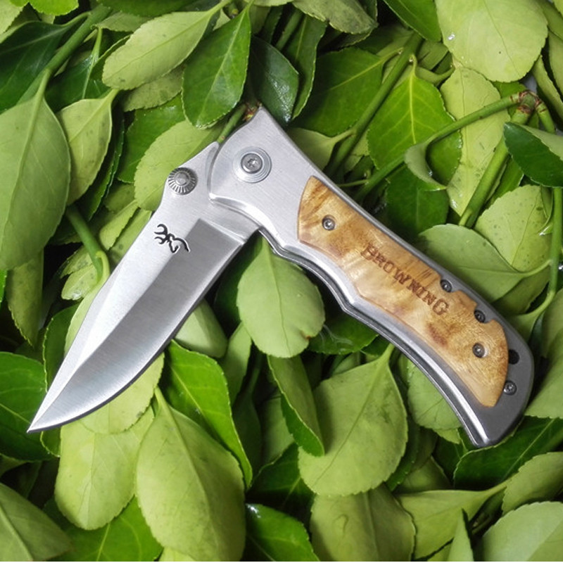 Buy 5Cr13Mov Tactical Knife Top Quality EDC Camping Knife Wood Handle Outdoor Utility Folding Knife Hunting Survival Tool cheap