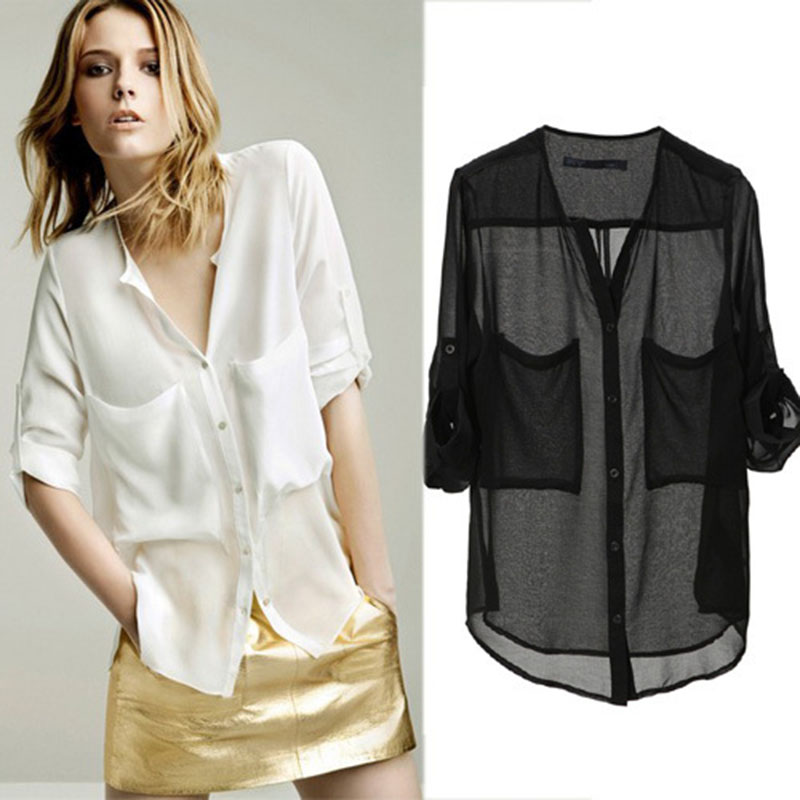 New Short Sleeve Women's Chiffon Blouse Women Sheer Tops Casual Concise Vogue Tinge Loose Shirt Blouses/Foldable Sleeve Tops OL(China (Mainland))