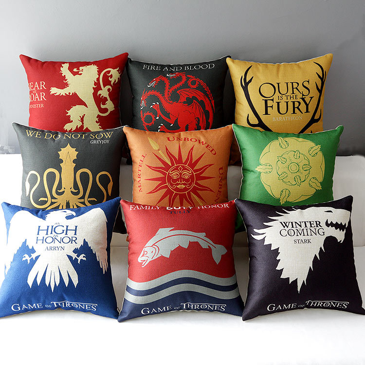 18 square game of thrones cotton linen cushion cover ikea art decorative throw pillow home. Black Bedroom Furniture Sets. Home Design Ideas
