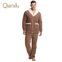 China Top Brand Flannel Pajamas Sets V-neck Men Thickening Sleepwear M~XXL Brown Color Coral Fleece Lounge Wear Free Shipping(China (Mainland))