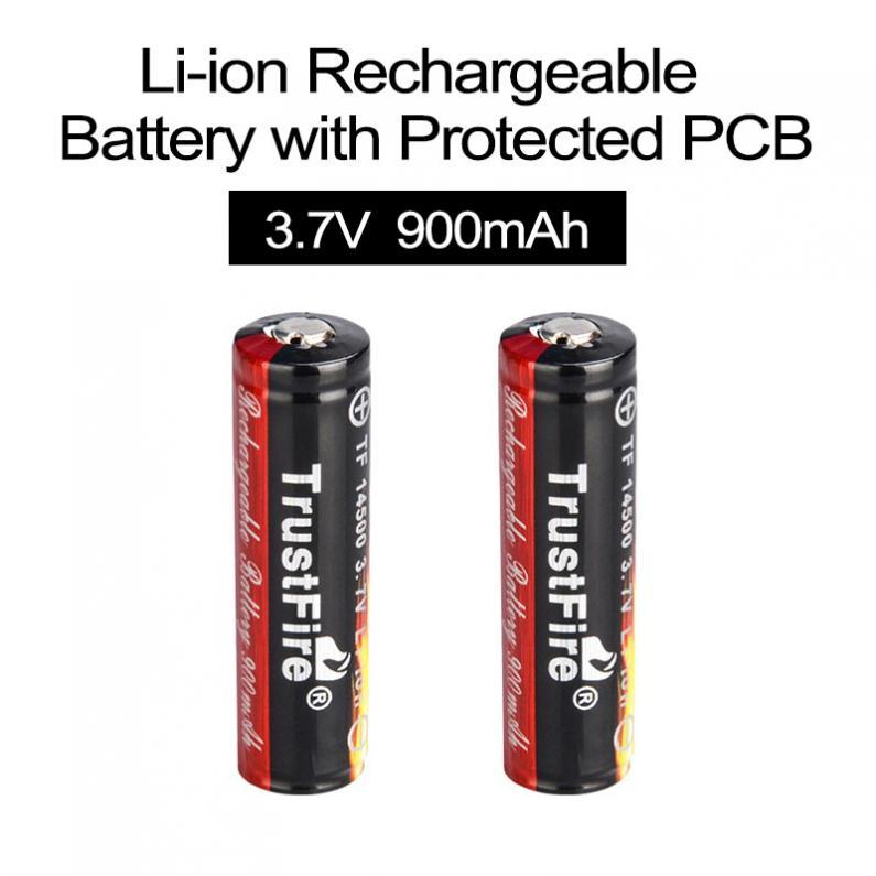 2pcs 3.7V 900mAh 14500 Li-ion Rechargeable Battery for LED Flashlights Headlamps(China (Mainland))