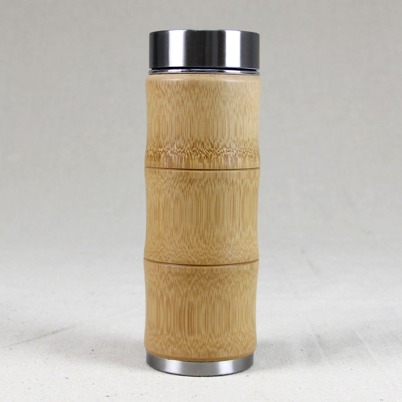 400ml Bamboo travel Thermos Cup Stainless Steel Bottles for water Vacuum Flasks mug coffee insulated keep warm tea cup thermo(China (Mainland))