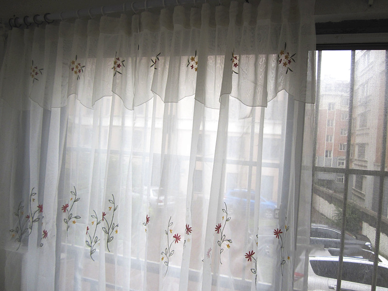 (Drapes + curtains head) combination products, exquisite embroidery, balcony bedroom living room decoration gauze shade(China (Mainland))
