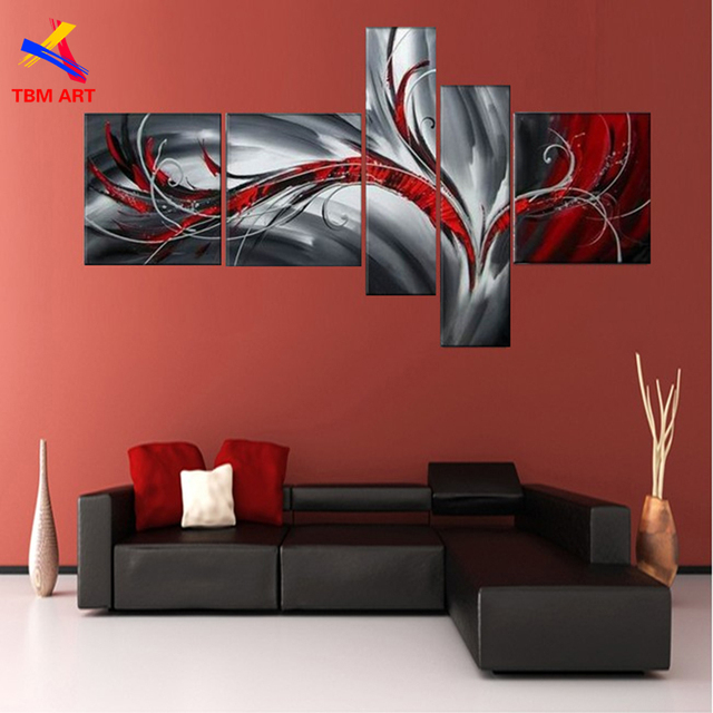 Grey and Red Color Pic Abstract Canvas Painting Large Handmade Modern Canvas Oil Painting Wall Art Gift Home Decoration  JYJ005