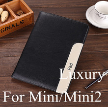 New Fashion arrival fashion thinner hot sell Luxury Pu leather case cover bag For Apple ipad mini 2/3 stand case for iPad mini(China (Mainland))