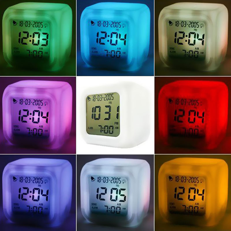 LED 7 Color Glowing Change Digital Glowing Thermometer Clock Cube(China (Mainland))