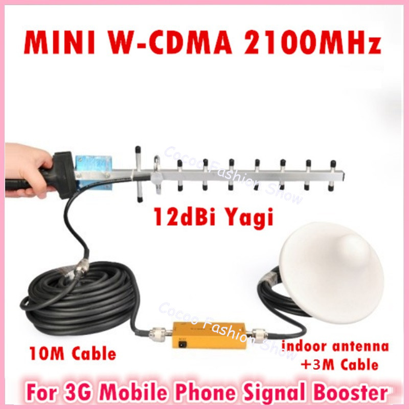 3G Repeater W-CDMA 2100Mhz Mobile Phone UMTS Signal Booster 3G WCDMA Signal Repeater Amplifier + 13dBi Yagi Antenna With Cable(China (Mainland))