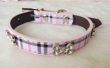 New Fashon Classical Plaid Dog Collar Bandana Adjustable Leather Pet Puppy Collars Cachorro Bling Rhinestones Bone Necklace(China (Mainland))