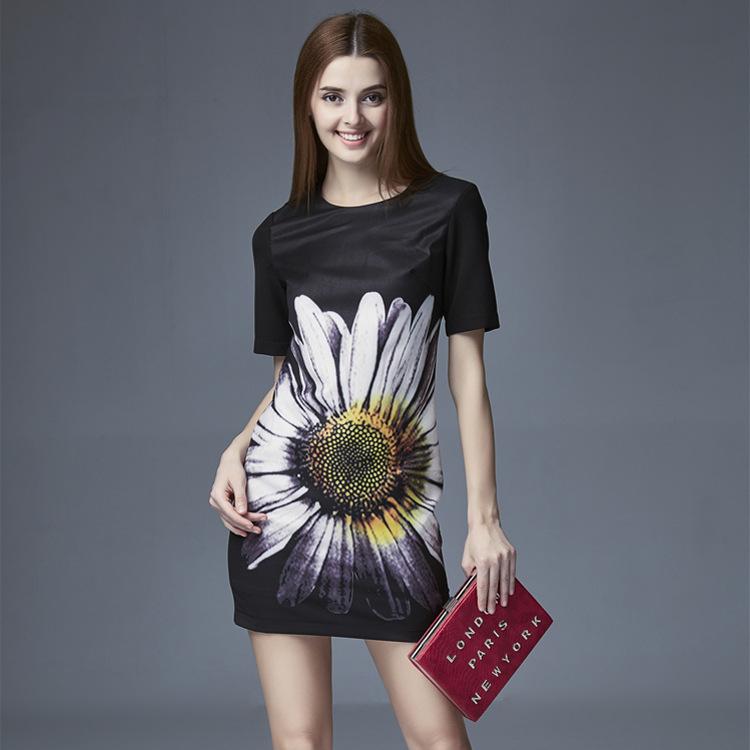 2016 summer new European American women sunflower print dress loose waist dress Satin high black XL casual dress