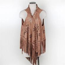New design women scarves sleeveless jacket hollow out faux suede fur coat ponchos and capes with tassel(China (Mainland))