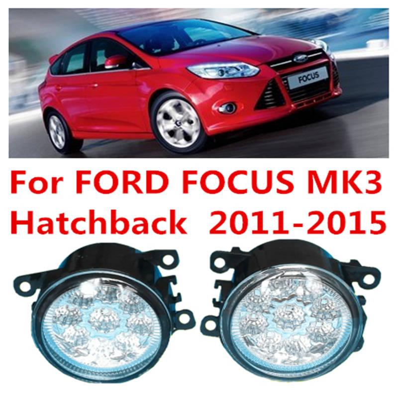 For FORD FOCUS III MK3 Hatchback  2011-2015 Car Styling LED Fog Lamps Refit Blue:10000K  White:6000K  Yellow:4300K  12V<br><br>Aliexpress
