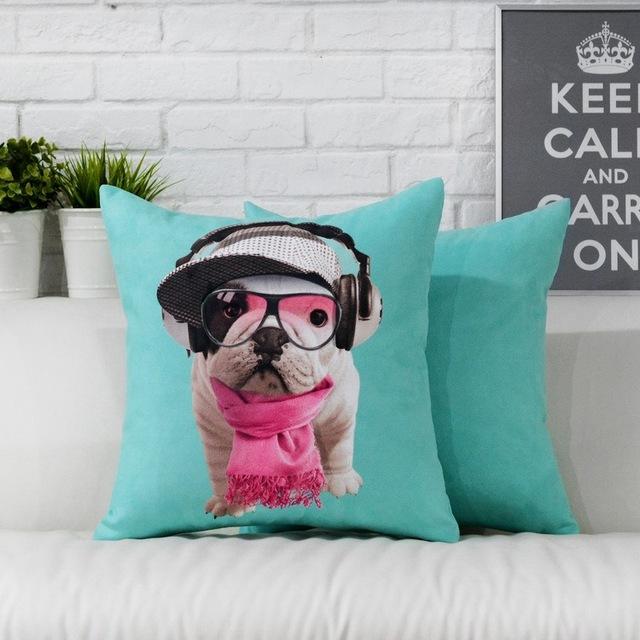 Fun anglais bulldog chien mignon oreiller housse de for Housse de coussin anglais