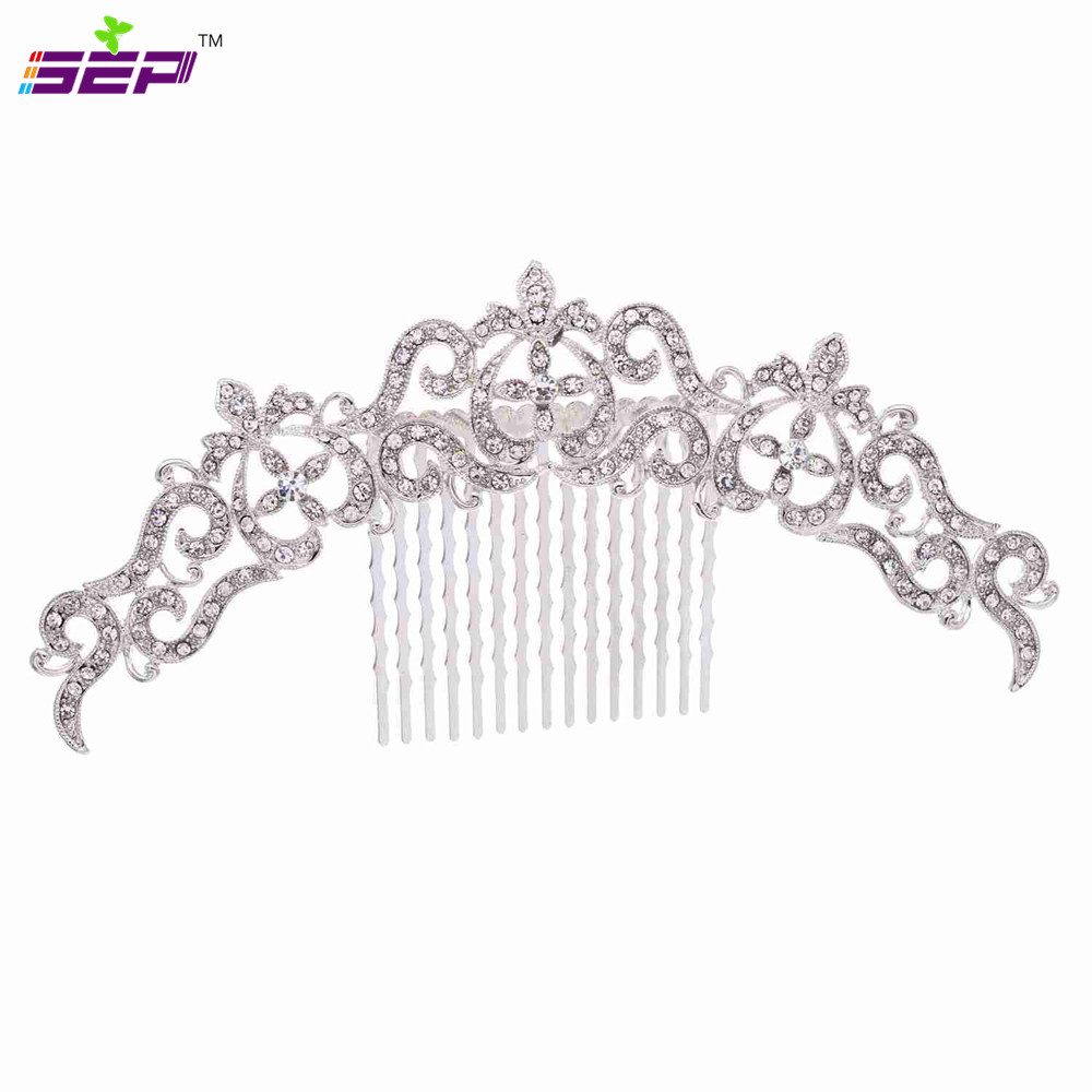 Trendy Vintage Silver Hair Combs Rhinestone Crystals Hairpins Bridal Wedding Hair Accessories Jewelry Free Shipping Xby077(China (Mainland))