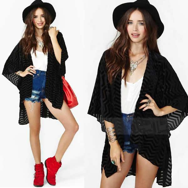 korean style plus size women clothing chiffon blouse ladies shirt striped female tunic casual tops black high street cardigan(China (Mainland))