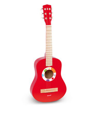Free shipping!Janod wooden Kids Guitar High Quality Red Baby Iron Strings Wooden Guitar toy  Musical Instrument Toy Educational