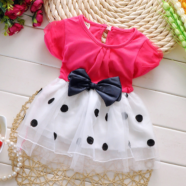 1-3 years old baby girls dress summer cotton material 2016 new style dot bow clothes princess infant dresses - Helen Children's clothing shop store