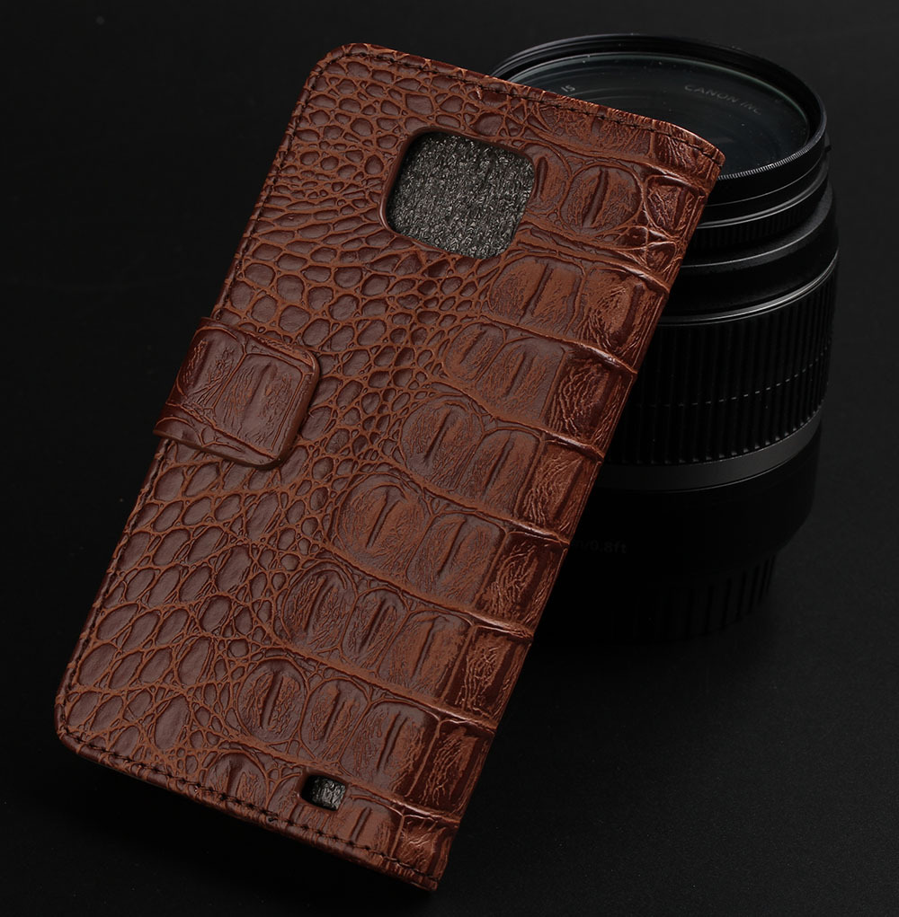 High Quality Leather Wallet Case for Galaxy S2 i9100, Luxury Croco Cover Stand Leather Case with Credit card holders, 1pcs(China (Mainland))