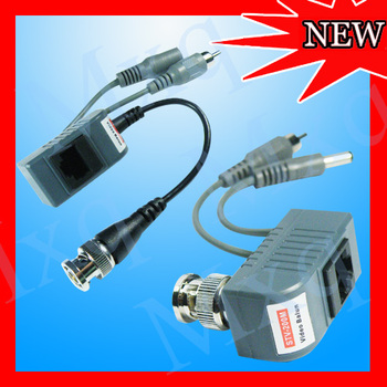 NEW 1 pair BNC UTP RJ45 Coax CAT5 CCTV Camera Video Audio Power Balun Twisted Transceiver Cable Cord Sync Adapter Free Shipping