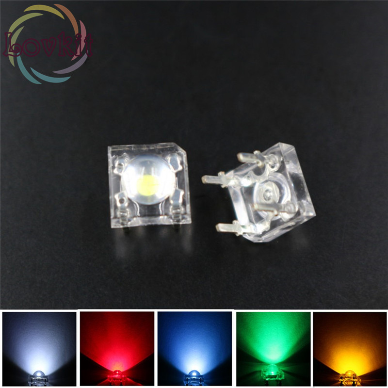 500 X 5mm Piranha Super Flux LED=100 EACH Red Green Blue White Yellow Leds kit 4 Pin Dome Wide Angle Light Lamp For Car Light(China (Mainland))