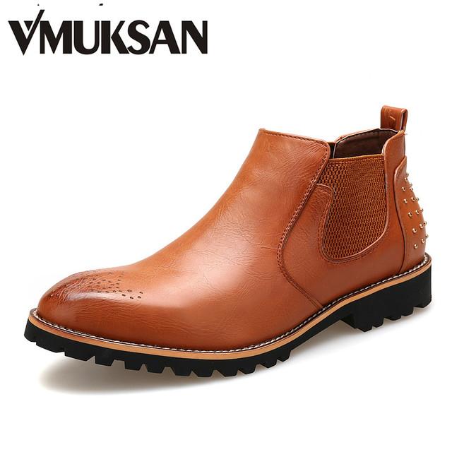 Новый 2016 осень мужская мода челси сапоги ковбой заклепки туфли-botas кожаные ботинки ...