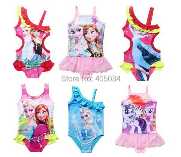 2015 new princess elsa dress swim wear girls bathers blue swimers one piece Swimwear kids Swimsuit Bikini Bathing Suit - Bonnie's store