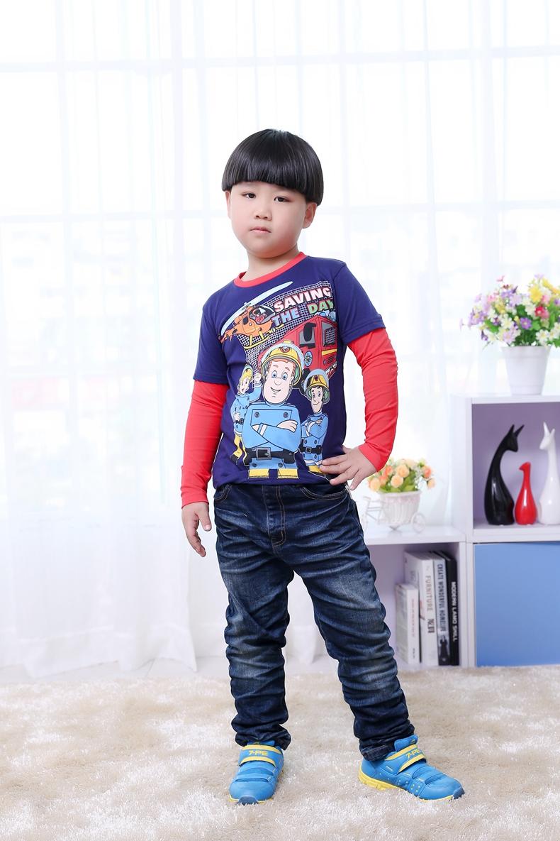 2016 hot sale nova brand fashion cartoon print long sleeve 100% Cotton hot sale new fireman sam Baby & Kids Boys Clothing(China (Mainland))